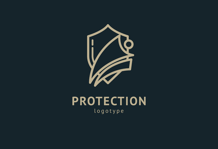 Shield icon. Vector flat style illustration Abstract business security Agency logo template. Logo concept of antivirus, protection, insurance, privacy, guard