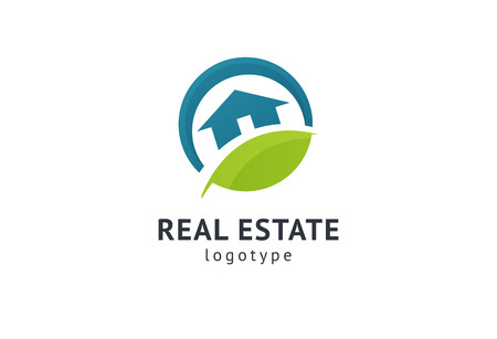 Abstract real estate agent logo icon vector design. Rent, sale of real estate vector logo, House cleaning, home security, real estate auction, grass cutting. Vector building logo concept