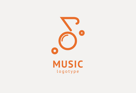 Vector illustration, Graphic Design Note web logotype. Abstract music logo icon vector design. Sound recording studio, night party. School of Music, disco, vocal course, composer, singer vector logo