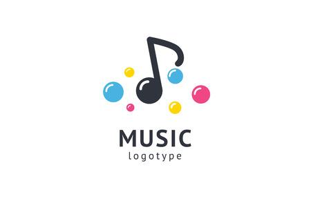 Vector illustration, Graphic Design Note web logotype. Abstract music logo icon vector design. Sound recording studio, night party. School of Music, disco, vocal course, composer, singer vector logo
