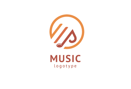 Vector illustration, Graphic Design Note web logotype. Abstract music logo icon vector design. Sound recording studio, night party. School of Music, disco, vocal course, composer, singer vector logo Imagens - 122460858