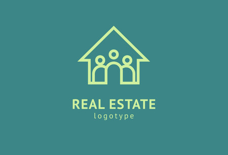 Abstraktes Immobilienmakler-Logo-Symbol-Vektor-Design. Miete, Verkauf von Immobilienvektorlogo, Hausreinigung, Haussicherheit, Immobilienauktion. Vektor-Gebäude-Logo-Konzept