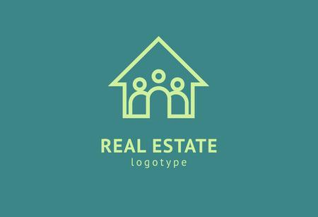 Disegno vettoriale astratto dell'icona del logo dell'agente immobiliare. Affitto, vendita di logo vettoriale immobiliare, pulizia della casa, sicurezza domestica, asta immobiliare. Concetto di logo di edificio vettoriale