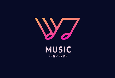 Vector illustration, Graphic Design Note web logotype. Abstract music logo icon vector design. Sound recording studio, night party. School of Music, disco, vocal course, composer, singer vector logo Archivio Fotografico - 122461135