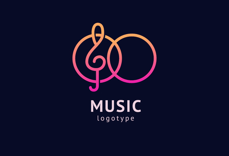Vector illustration, Graphic Design treble clef logotype. Abstract music icon vector design. Sound recording studio, night party. School of Music, disco, vocal course, composer, singer vector logo