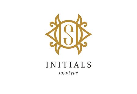 Letter S vector logo. Vintage Insignia and Logotype. Business sign, identity, label, badge initials. Monogram design elements, graceful template. Calligraphic elegant logo design. 版權商用圖片 - 122461288