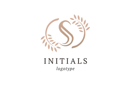 Letter S vector logo. Vintage Insignia and Logotype. Business sign, identity, label, badge initials. Monogram design elements, graceful template. Calligraphic elegant logo design.