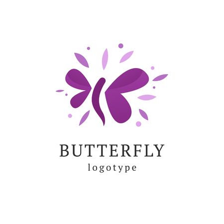 Abstract Butterfly illustration. Manicure, styling, haircut, makeup, stylist, fashion logo design. Model agency, Women's beauty salon, massage cosmetic vector logotype template
