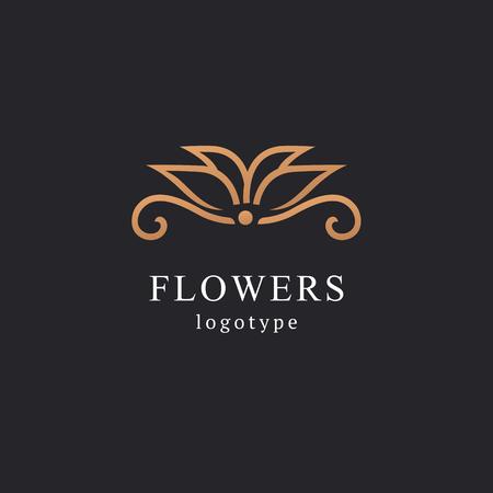 Streszczenie kwiat sklep logo ikona wektor wzór. Kosmetyki, Spa, Salon piękności Ozdoba Boutique logo wektor. Ilustracja wektorowa, projekt graficzny do edycji. Kwiatowe logo. Ikona ślubu kwiat. Logo