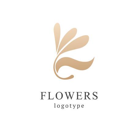 Campanula logo. Wedding floral icon. Luxury retro emblem. Cosmetics, Spa, Beauty salon, Decoration, Boutique vector logo. Royal Jewelry, Yoga, Premium Logo. Resort and Restaurant design illustration.