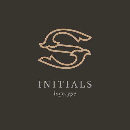 Letter S vector logo. Vintage Insignia and Logotype. Business sign, identity, label, badge initials. Monogram design elements, graceful template. Calligraphic elegant logo design Logo