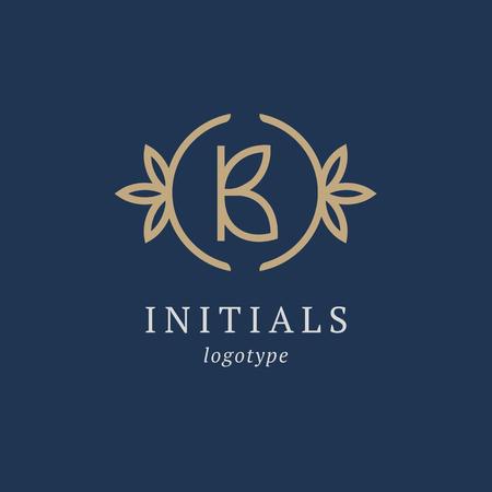 Letter B vector logo. Vintage Insignia and Logotype. Business sign, identity, label, badge initials. Monogram design elements, graceful template. Calligraphic elegant logo design