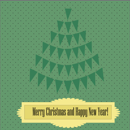 Vintage-style christmas card with christmas tree Vector