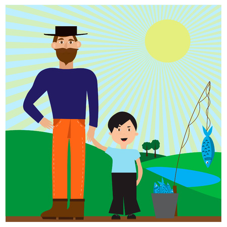 Vector illustration with dad and son after a fishing trip Illustration