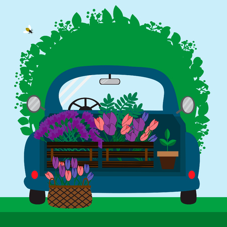 Blue car with flowers. Illustration