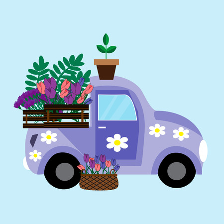 Purple car with flowers vector illustration.