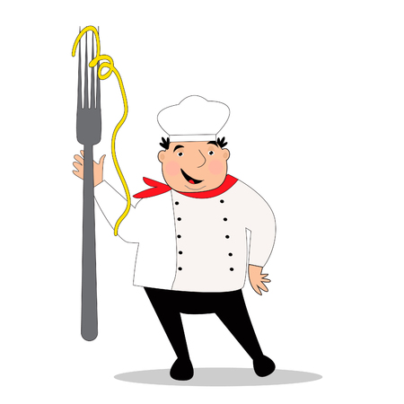 Happy cook with hat in uniform. Chef with big fork. Vector illustration.  イラスト・ベクター素材