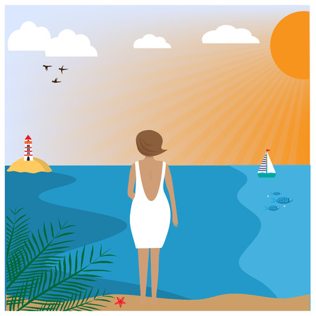 Illustration with woman wearing in a white dress standing on the beach. EPS 10. Stock Illustratie