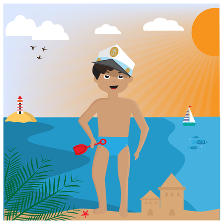Little boy building Sand Castle on the Beach. EPS10 Vector