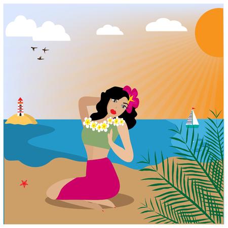 Illustration with Hawaiian woman sitting on the beach. EPS 10.