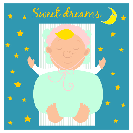 Illustration with cute sleeping baby.