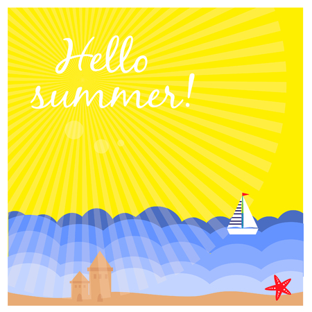 Summer background with tropical beach. Illustration