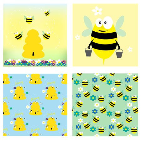 Bees and honey collection. Two cards and two seamless pattern. Vector illustration.