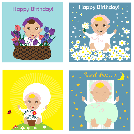Greeting card collection with babies. Vector illustration. 일러스트
