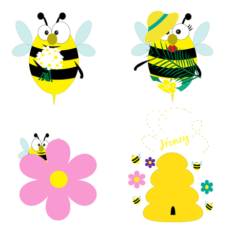 Cute funny bees collection. Four pictures for design. Vector