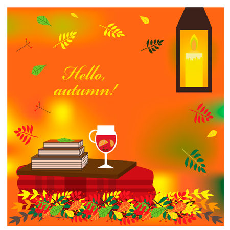 Cozy autumn illustration with plaid and mulled wine in a glass . EPS 10. Illustration