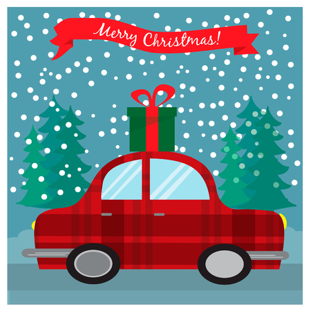 Greeting Christmas card with retro car with gift box