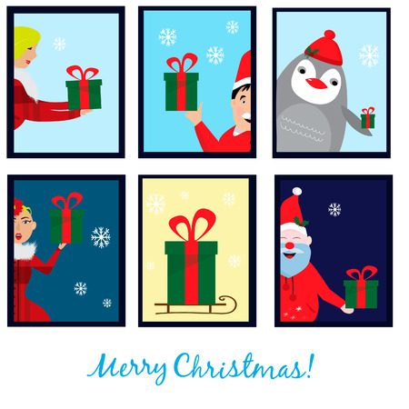 Christmas collection with six cards. EPS 10
