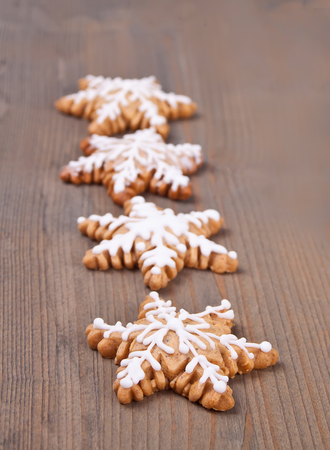Christmas cookie on a wooden background