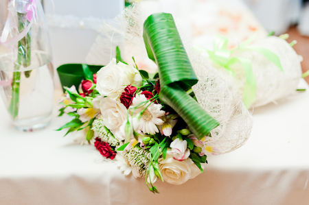 decoration of wedding table with flowers