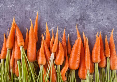 Young mini carrot in row over concreate background. Flat lay, space. Cooking concept, food background Фото со стока