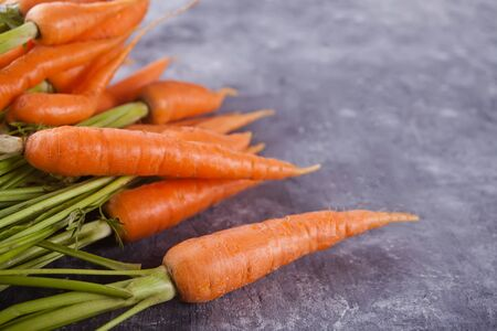 Young mini carrot in row over concreate background. Flat lay, space. Cooking concept, food background. Copy space.
