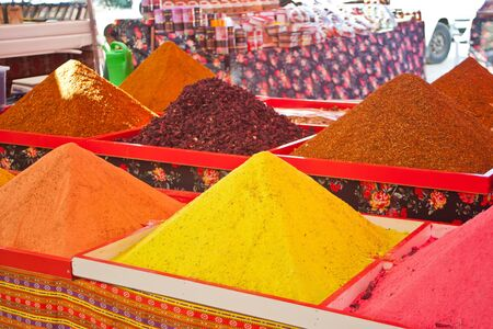 Colorful dry tea or spices at turkish market