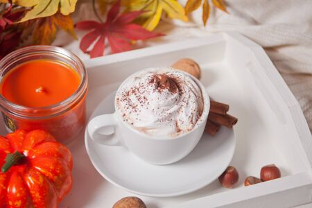 Cup of hot creamy cocoa with froth on the white tray with autumn leaves and pumpkins on the background.