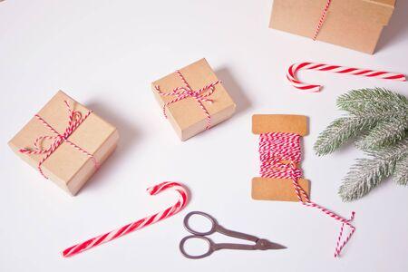 Christmas present decoration. Handmade decor concept. Top view Imagens