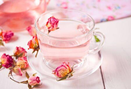 Cup of roses tea. Healthy herbal detox tea