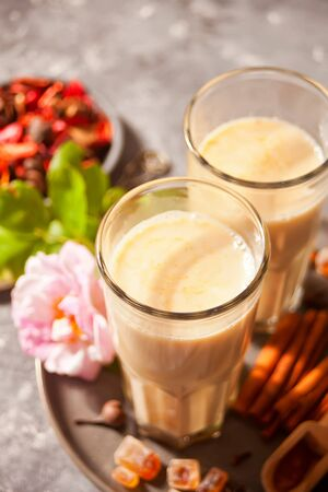 masala tea chai with milk and spices