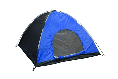 blue camping tent isolated photo