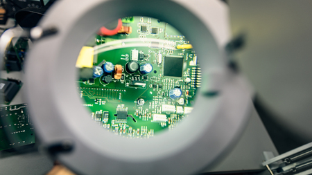 Magnifying glass electronic circuit board