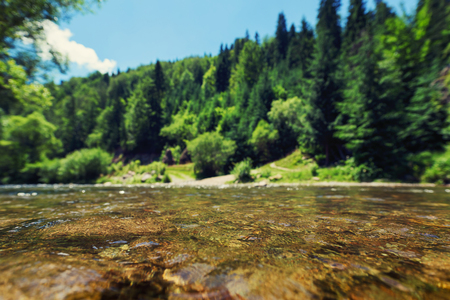 Beautiful blurred mountain and river background for eco projects 版權商用圖片