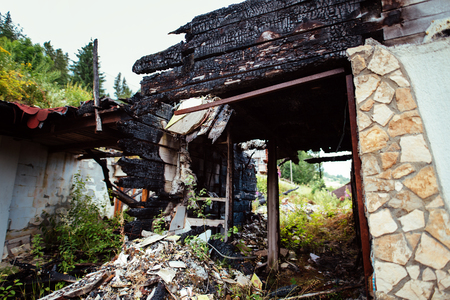 Interior of a burnt by fire home