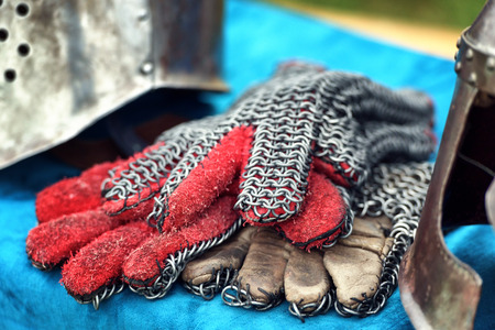 Medieval knight gauntlets with accesories