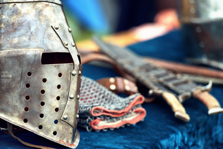 Medieval knight helmets with accesories