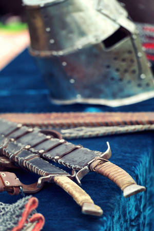 Medieval knight weapons with accesories 版權商用圖片