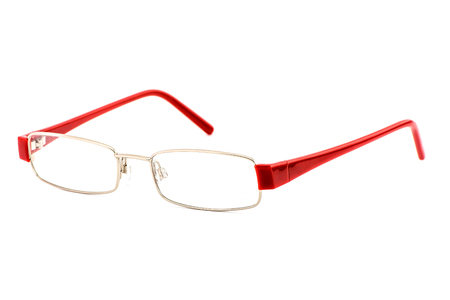 Modern eye glasses with shadows isolated on white