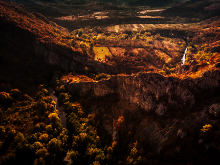 Drone aerial view of cliffs national park Cheile Nerei